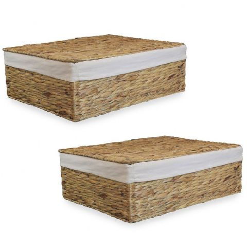 Scandi Weave Wicker Underbed Storage Box H 20 x W 58cm Pair